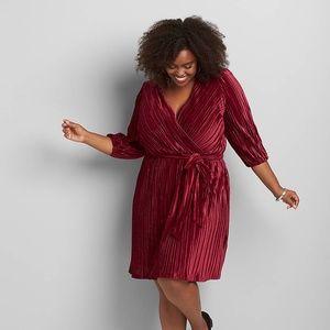 Lane Bryant Pleated Velvet Dress NWT Size 26/28